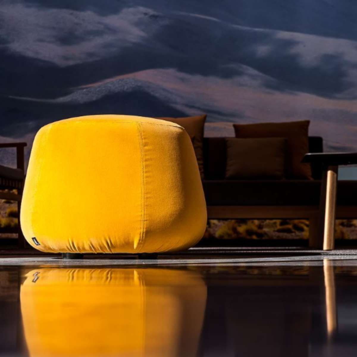 Tribu Nomad Pouf Yellow Velvet