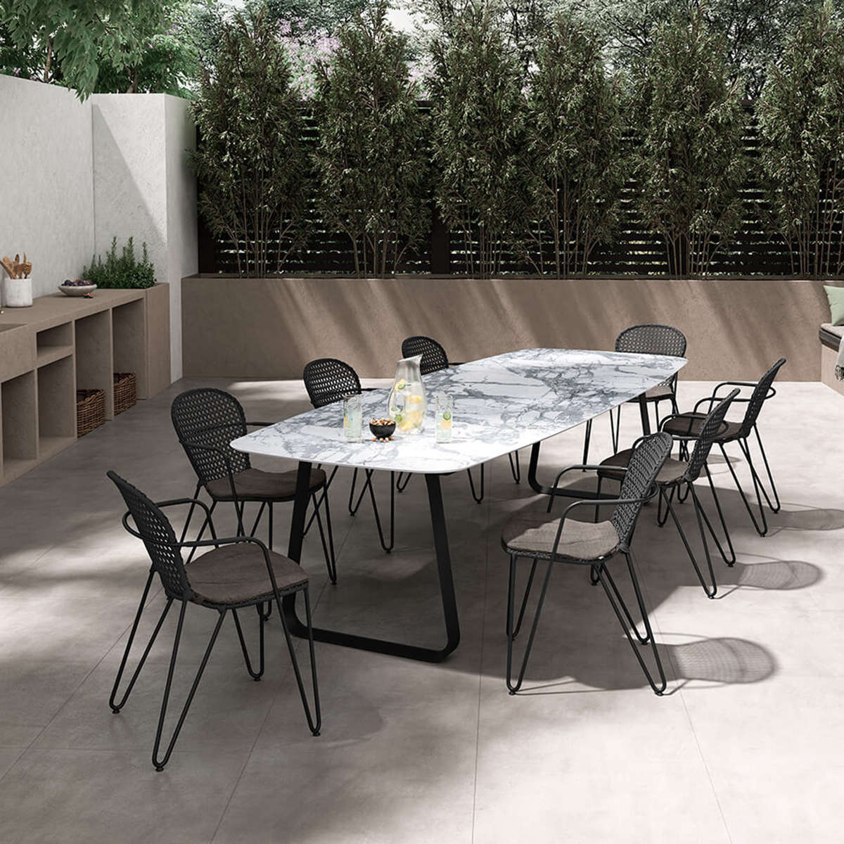 Modern Garden Co Curve Dining Table Amb White