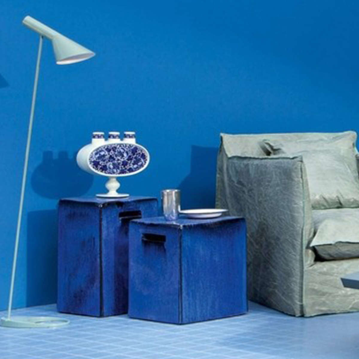 Modern Garden Co  Ceramic Tables Blue