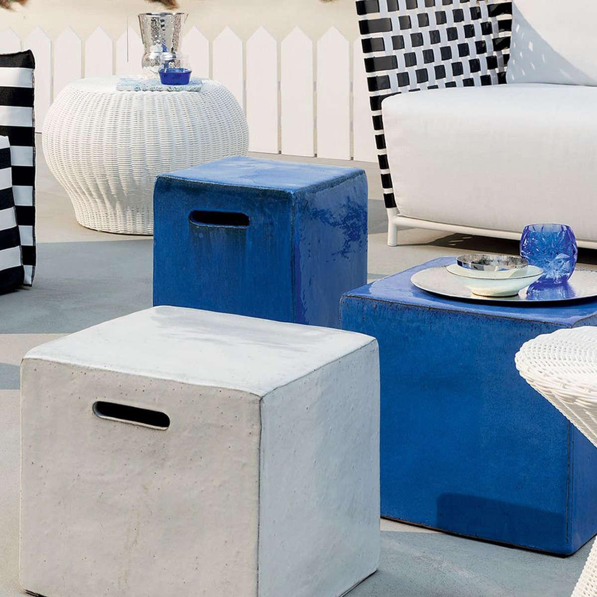 Modern Garden Co Inout Coffee Table Pouffe In White Or Blue Ceramic